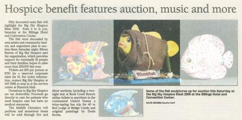Monkfish sculpture for auction