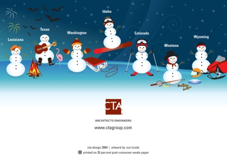 The Christmas card with all the snowmen representing a State