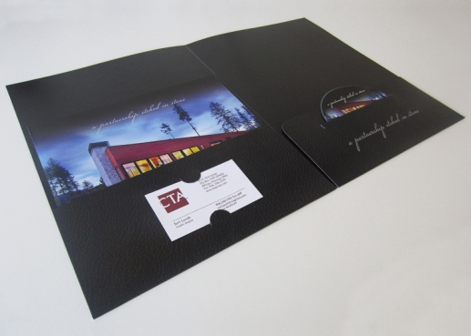 Folder with business card and DVD slots