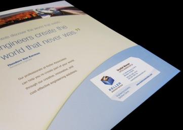 Folder pocket with business card slot
